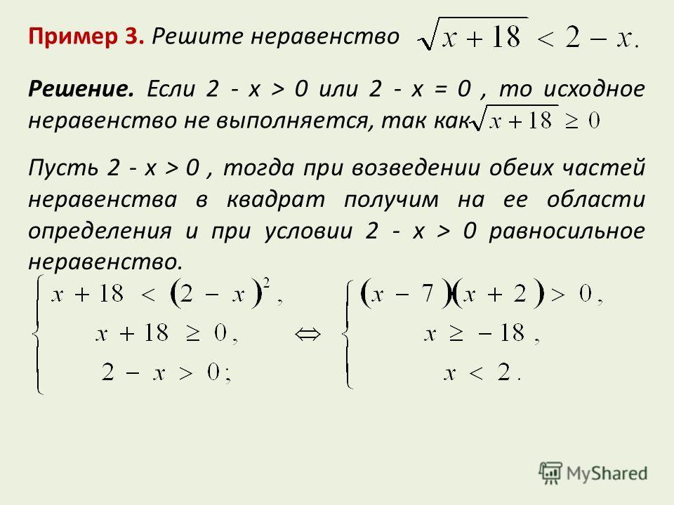 Пример 3. Решите неравенство Решение. Если 2 - x > 0 или 2 - x = 0, то исходное неравенство не выполняется, так как Пусть 2 - x > 0, тогда при возведении обеих частей неравенства в квадрат получим на ее области определения и при условии 2 - x > 0 рав