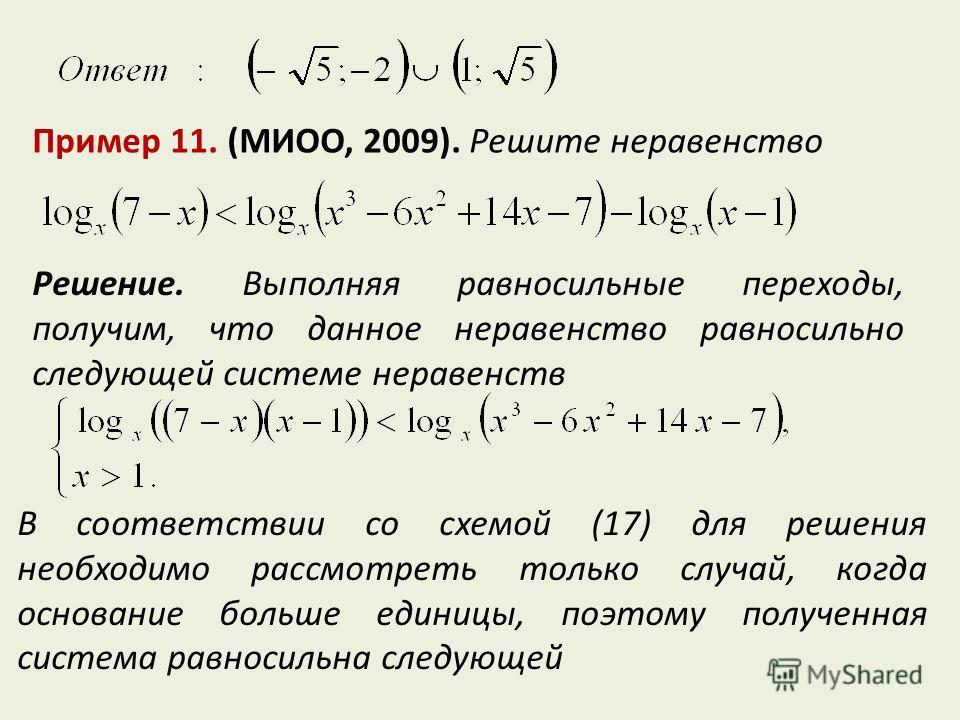 Пример 11. (МИОО, 2009). Решите неравенство Решение. Выполняя равносильные переходы, получим, что данное неравенство равносильно следующей системе неравенств В соответствии со схемой (17) для решения необходимо рассмотреть только случай, когда основа
