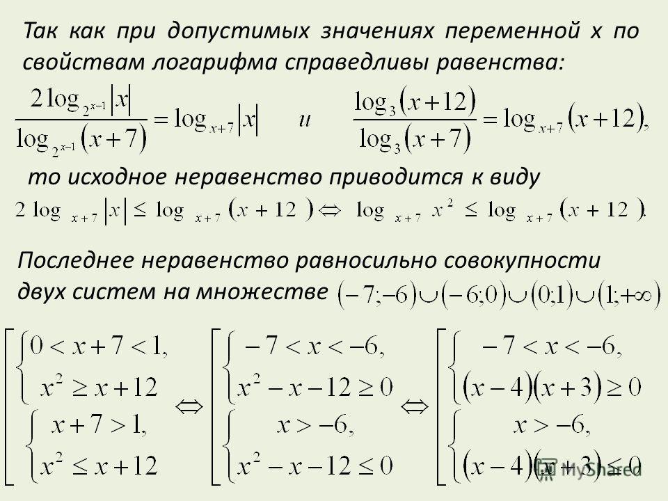 Так как при допустимых значениях переменной x по свойствам логарифма справедливы равенства: то исходное неравенство приводится к виду Последнее неравенство равносильно совокупности двух систем на множестве