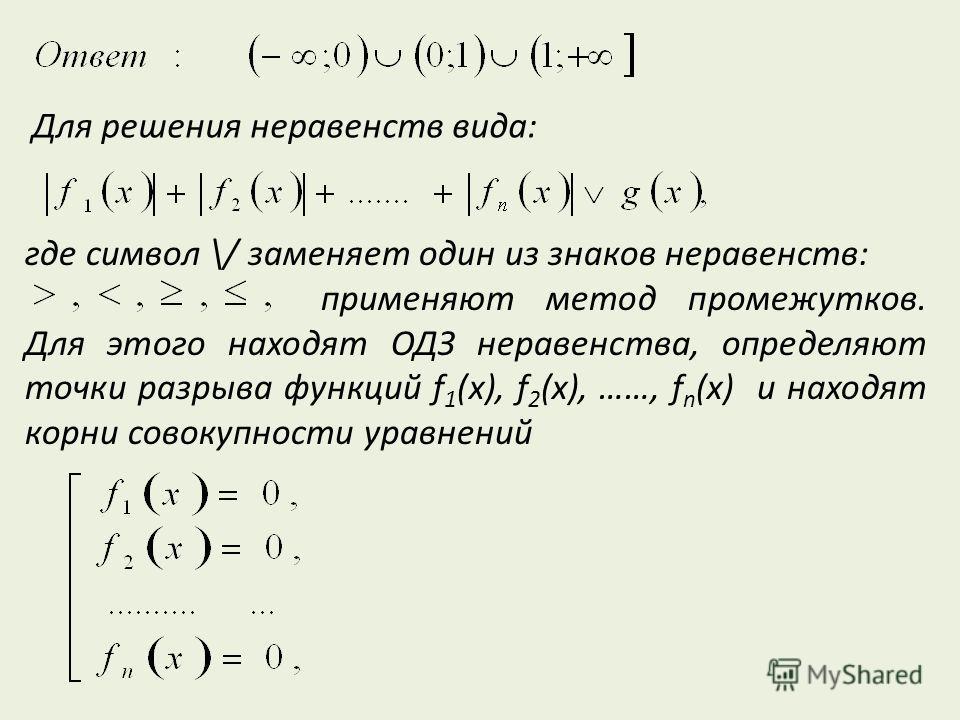 Для решения неравенств вида: где символ \/ заменяет один из знаков неравенств: применяют метод промежутков. Для этого находят ОДЗ неравенства, определяют точки разрыва функций f 1 (x), f 2 (x), ……, f n (x) и находят корни совокупности уравнений