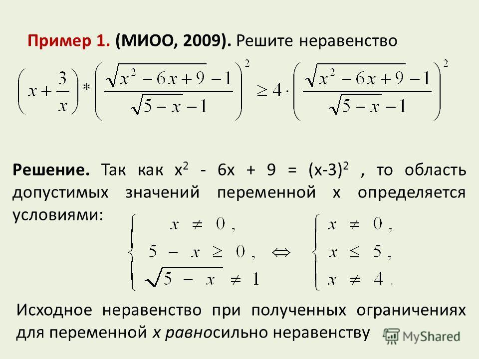 Пример 1. (МИОО, 2009). Решите неравенство Решение. Так как x 2 - 6x + 9 = (x-3) 2, то область допустимых значений переменной x определяется условиями: Исходное неравенство при полученных ограничениях для переменной x равносильно неравенству