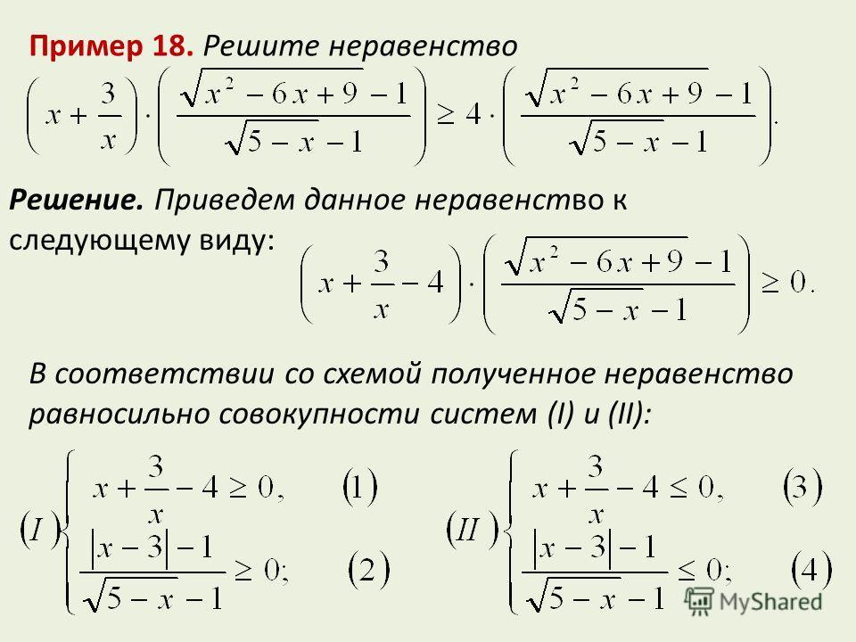 Пример 18. Решите неравенство Решение. Приведем данное неравенство к следующему виду: В соответствии со схемой полученное неравенство равносильно совокупности систем (I) и (II):