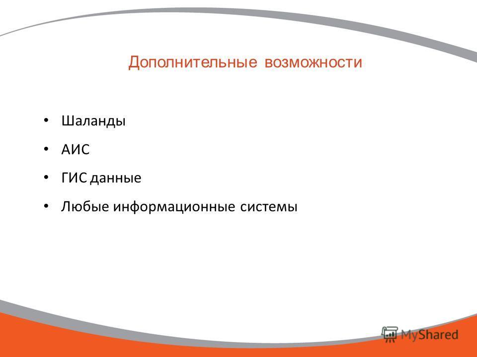 Дополнительные возможности Шаланды АИС ГИС данные Любые информационные системы
