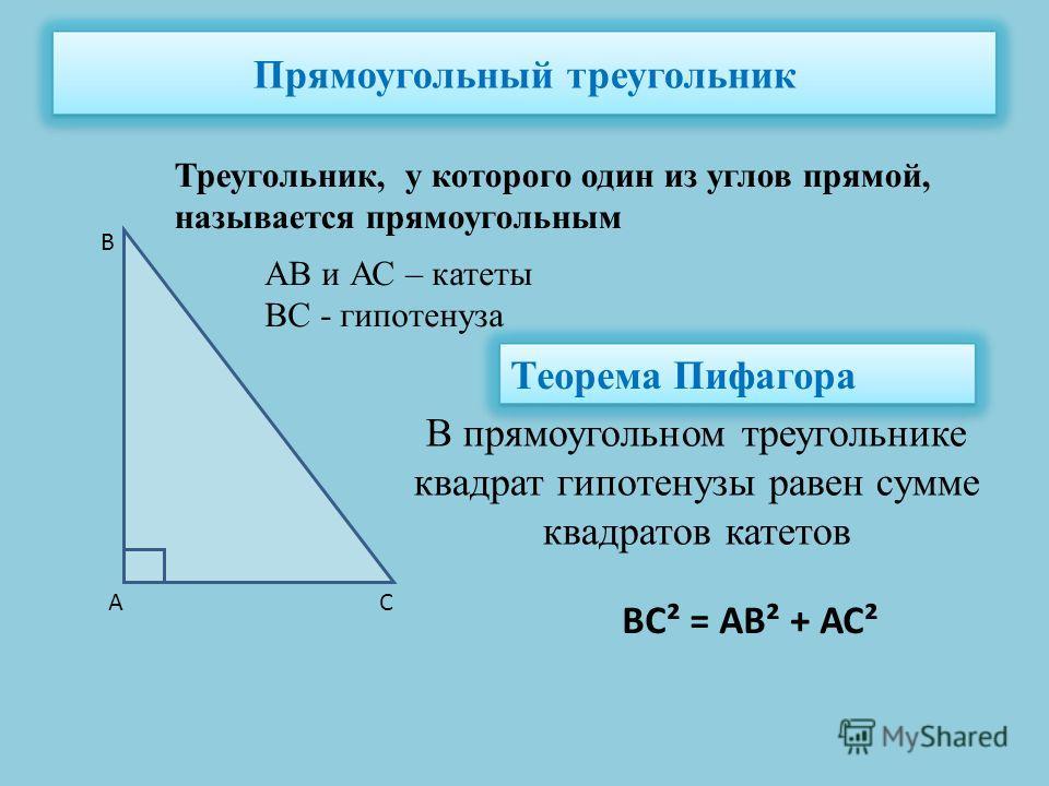 Прямоугольный треугольник Треугольник, у которого один из углов прямой, называется прямоугольным АВ и АС – катеты ВС - гипотенуза А В С Теорема Пифагора В прямоугольном треугольнике квадрат гипотенузы равен сумме квадратов катетов ВС² = АВ² + АС²