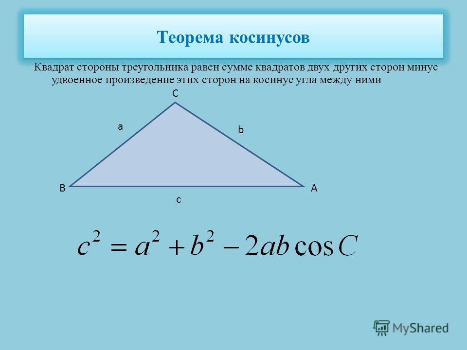 Теорема косинусов Квадрат стороны треугольника равен сумме квадратов двух других сторон минус удвоенное произведение этих сторон на косинус угла между ними а b c C BA