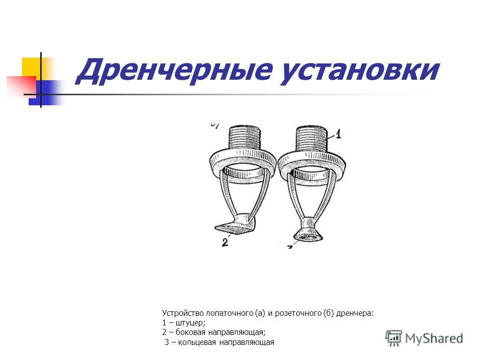 Дренчерные установки Устройство лопаточного (а) и розеточного (б) дренчера: 1 – штуцер; 2 – боковая направляющая; 3 – кольцевая направляющая