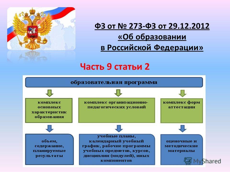 ФЗ от 273-ФЗ от 29.12.2012 «Об образовании в Российской Федерации» Часть 9 статьи 2