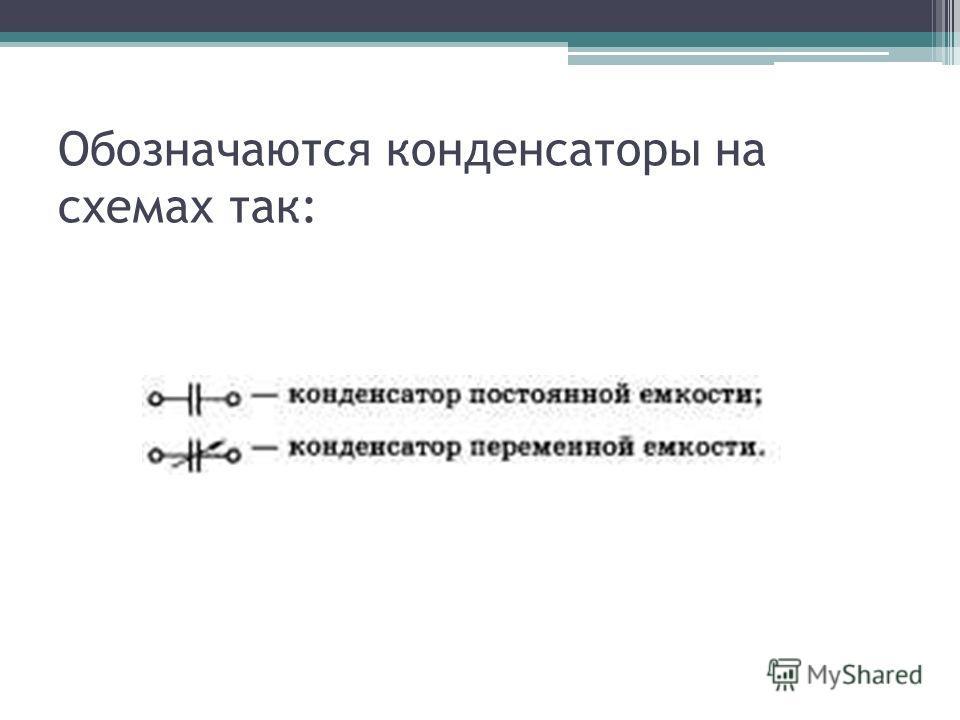 Обозначаются конденсаторы на схемах так: