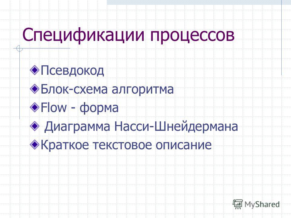 Спецификации процессов Псевдокод Блок-схема алгоритма Flow - форма Диаграмма Насси-Шнейдермана Краткое текстовое описание