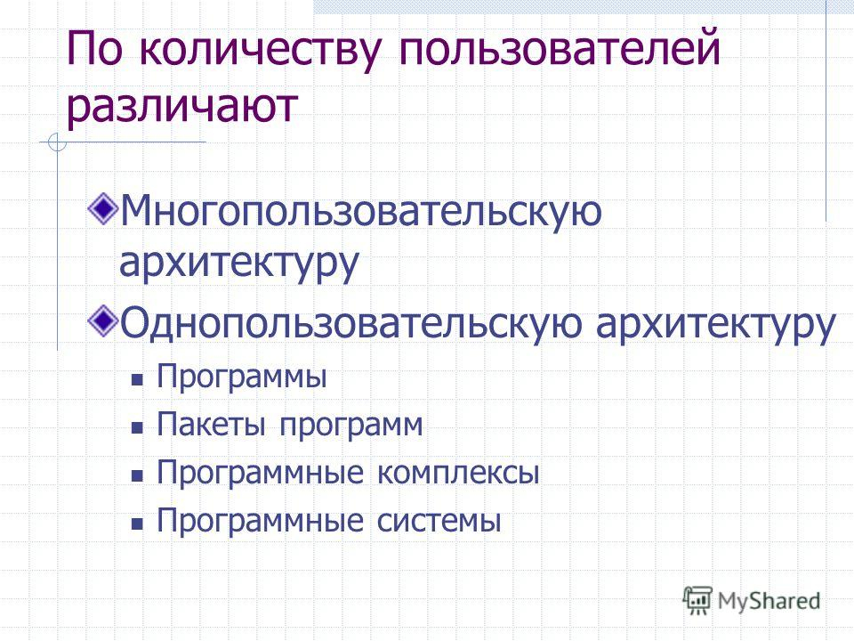 По количеству пользователей различают Многопользовательскую архитектуру Однопользовательскую архитектуру Программы Пакеты программ Программные комплексы Программные системы