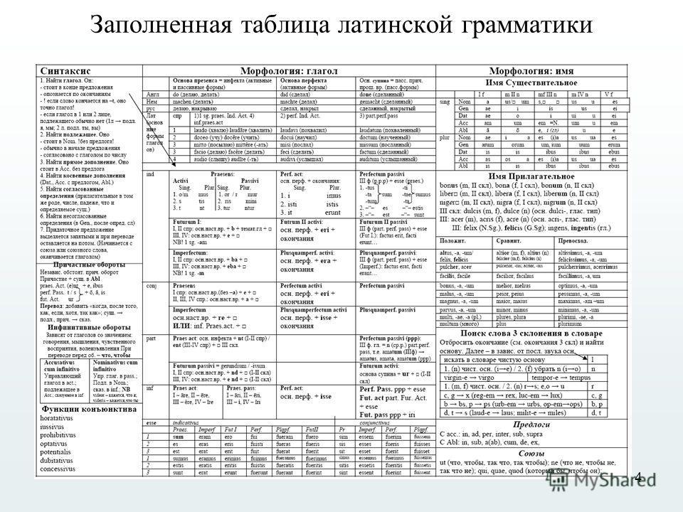 4 Заполненная таблица латинской грамматики