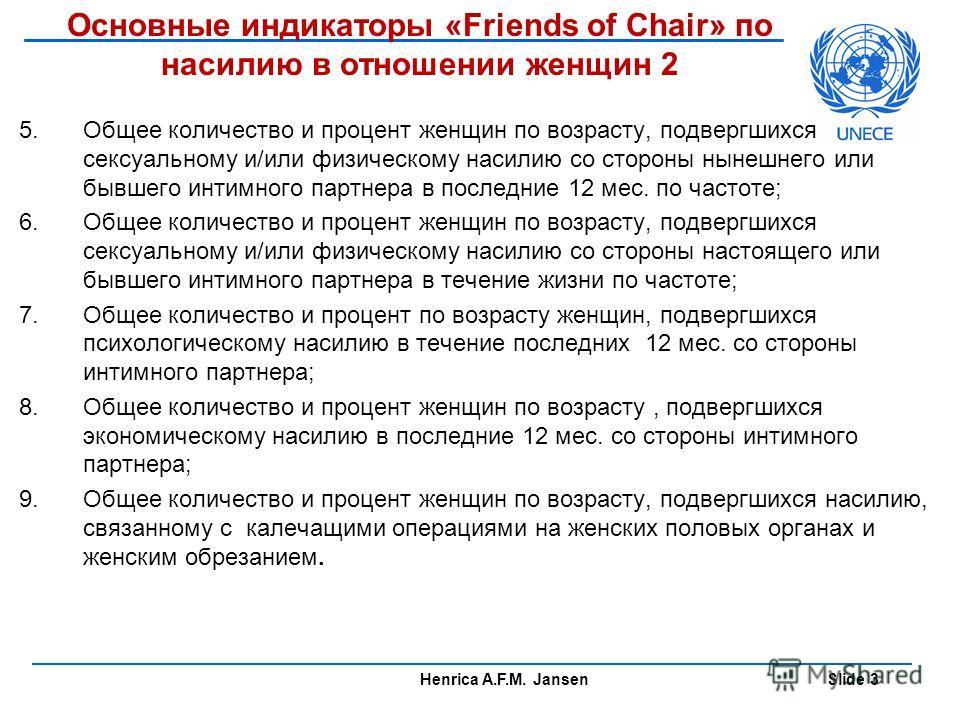 Henrica A.F.M. Jansen Slide 3 Основные индикаторы «Friends of Chair» по насилию в отношении женщин 2 5. Общее количество и процент женщин по возрасту, подвергшихся сексуальному и/или физическому насилию со стороны нынешнего или бывшего интимного парт