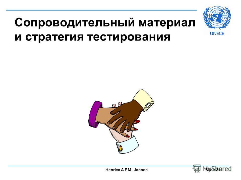 Henrica A.F.M. Jansen Slide 31 Сопроводительный материал и стратегия тестирования
