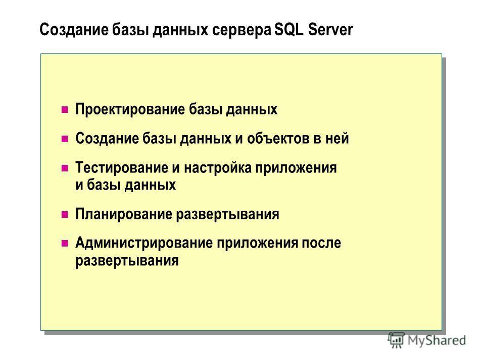 Создание базы данных сервера SQL Server Проектирование базы данных Создание базы данных и объектов в ней Тестирование и настройка приложения и базы данных Планирование развертывания Администрирование приложения после развертывания