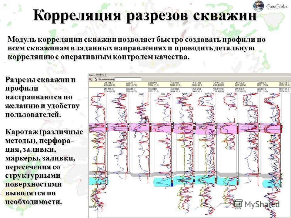 Корреляция разрезов скважин Модуль корреляции скважин позволяет быстро создавать профили по всем скважинам в заданных направлениях и проводить детальную корреляцию с оперативным контролем качества. Разрезы скважин и профили настраиваются по желанию и