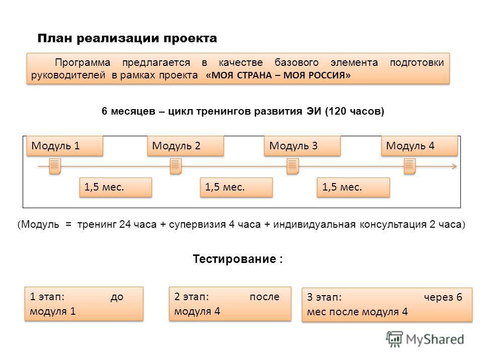План реализации проекта 6 месяцев – цикл тренингов развития ЭИ (120 часов) ( Модуль = тренинг 24 часа + супервизия 4 часа + индивидуальная консультация 2 часа ) Тестирование : 1 этап: до модуля 1 2 этап: после модуля 4 3 этап: через 6 мес после модул