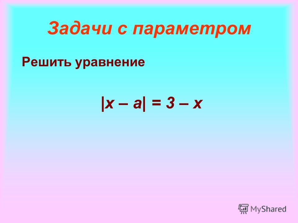 Задачи с параметром Решить уравнение |x – a| = 3 – x