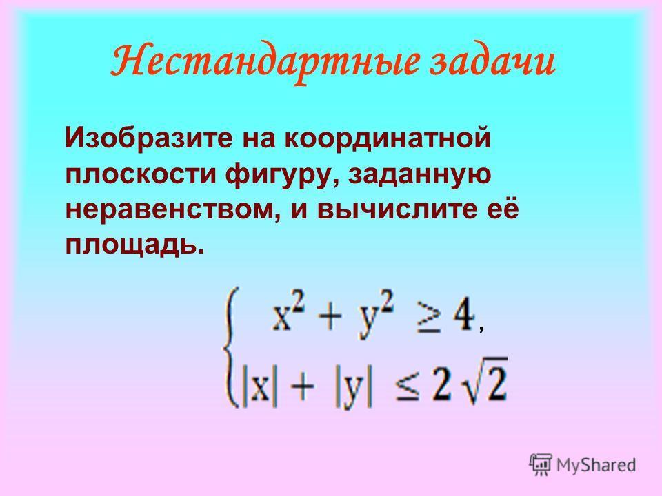 Нестандартные задачи Изобразите на координатной плоскости фигуру, заданную неравенством, и вычислите её площадь.,