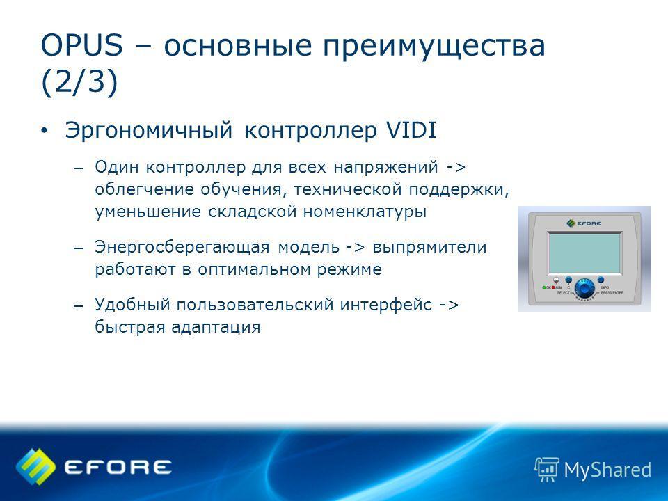 OPUS – основные преимущества (2/3) Эргономичный контроллер VIDI – Один контроллер для всех напряжений -> облегчение обучения, технической поддержки, уменьшение складской номенклатуры – Энергосберегающая модель -> выпрямители работают в оптимальном ре