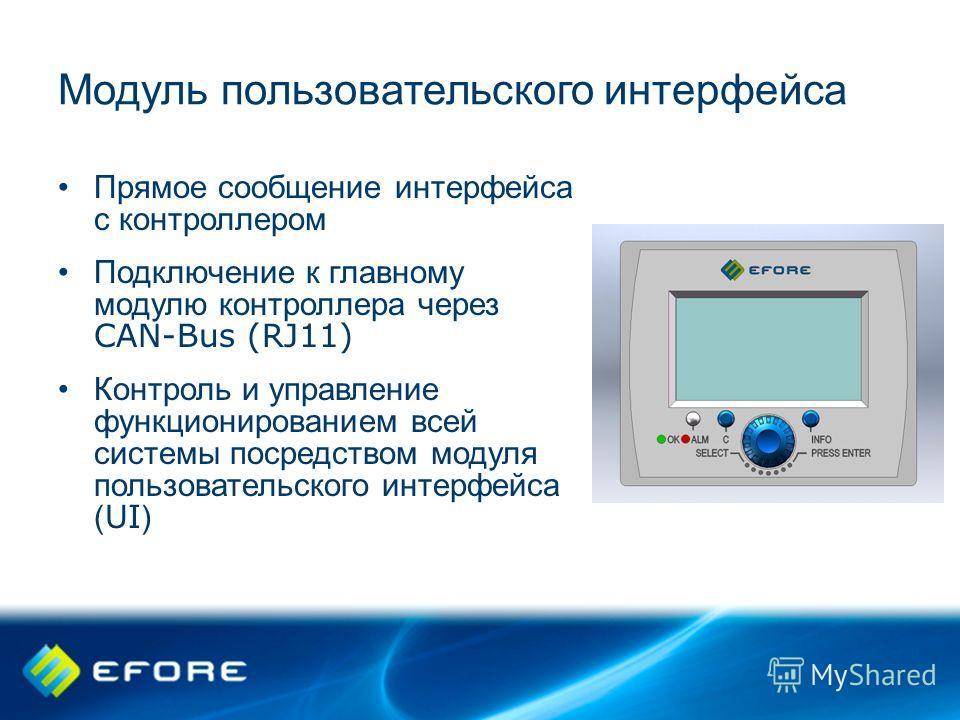 Модуль пользовательского интерфейса Прямое сообщение интерфейса с контроллером Подключение к главному модулю контроллера через CAN-Bus (RJ11) Контроль и управление функционированием всей системы посредством модуля пользовательского интерфейса ( UI )