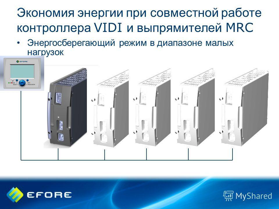 Экономия энергии при совместной работе контроллера VIDI и выпрямителей MRC Энергосберегающий режим в диапазоне малых нагрузок