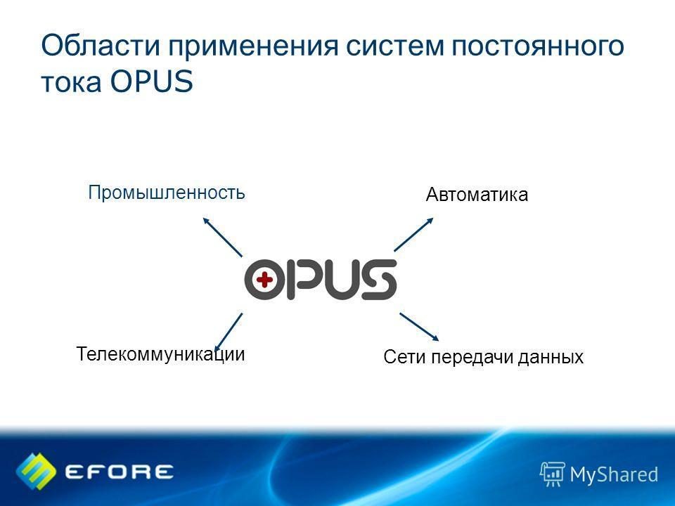 Области применения систем постоянного тока OPUS Телекоммуникации Сети передачи данных Промышленность Автоматика