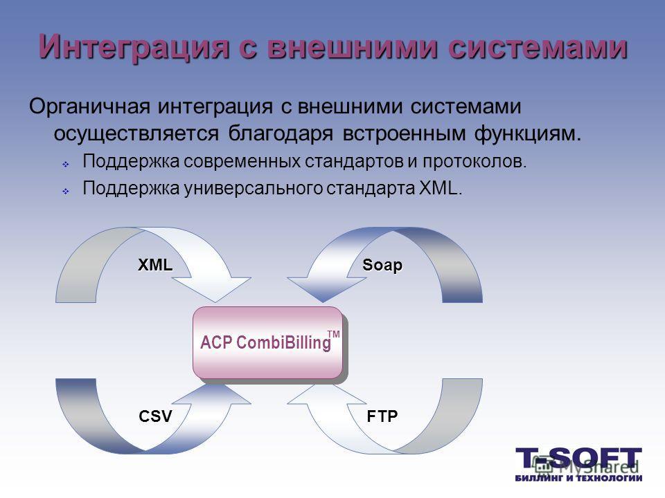 Интеграция с внешними системами Органичная интеграция с внешними системами осуществляется благодаря встроенным функциям. Поддержка современных стандартов и протоколов. Поддержка универсального стандарта XML. XMLSoap FTPCSV АСР CombiBilling TM