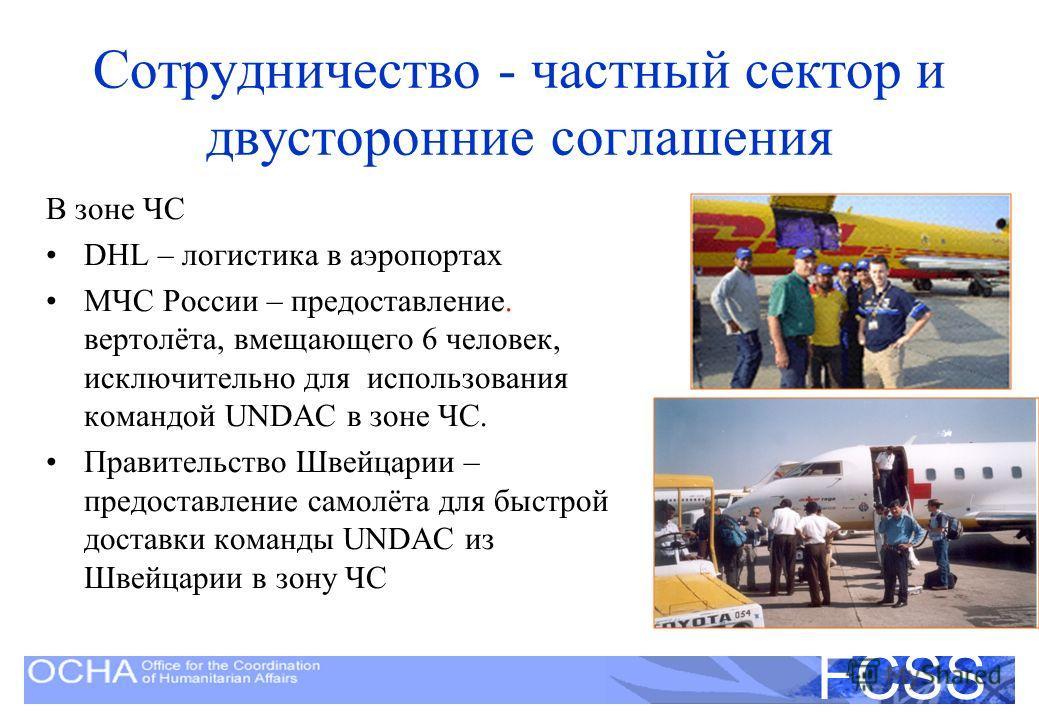 United Nations Disaster Assessment and Coordination FCSS Сотрудничество - частный сектор и двусторонние соглашения В зоне ЧС DHL – логистика в аэропортах МЧС России – предоставление. вертолёта, вмещающего 6 человек, исключительно для использования ко
