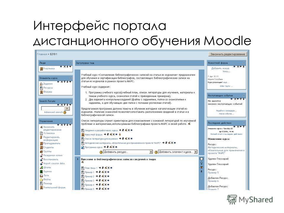 Интерфейс портала дистанционного обучения Moodle