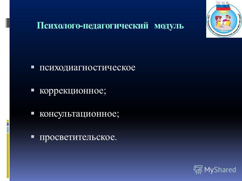 Психолого-педагогический модуль психодиагностическое коррекционное; консультационное; просветительское.