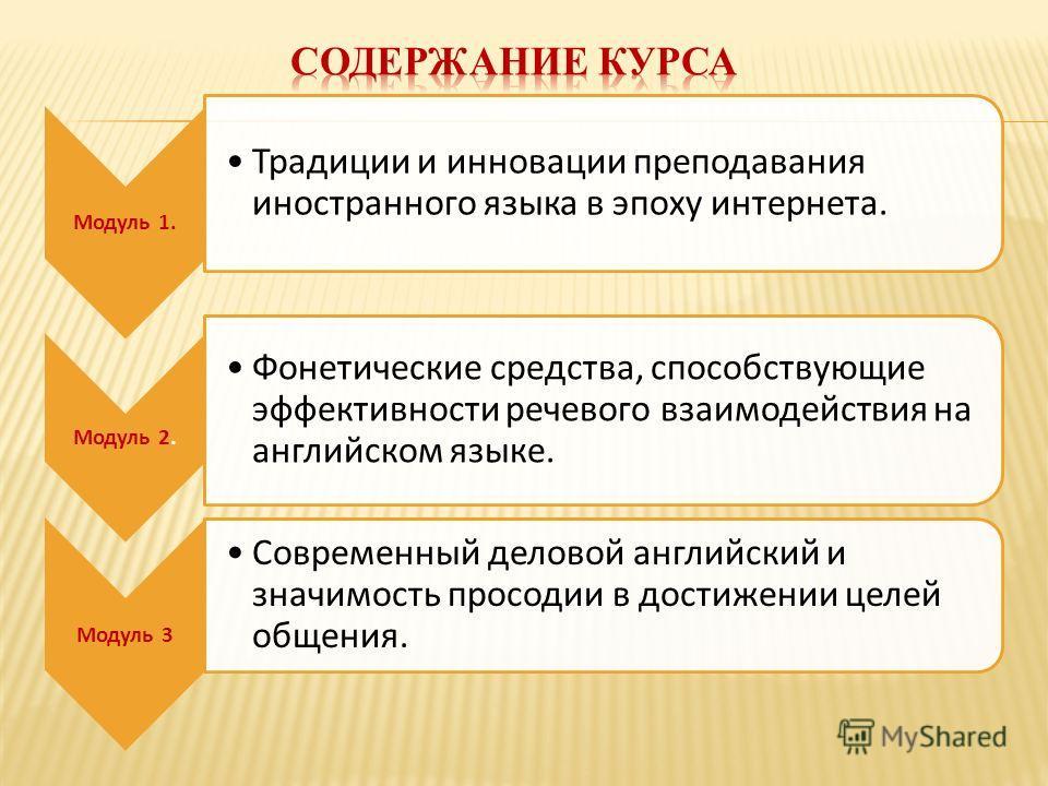 Модуль 1. Традиции и инновации преподавания иностранного языка в эпоху интернета. Модуль 2. Фонетические средства, способствующие эффективности речевого взаимодействия на английском языке. Модуль 3 Современный деловой английский и значимость просодии
