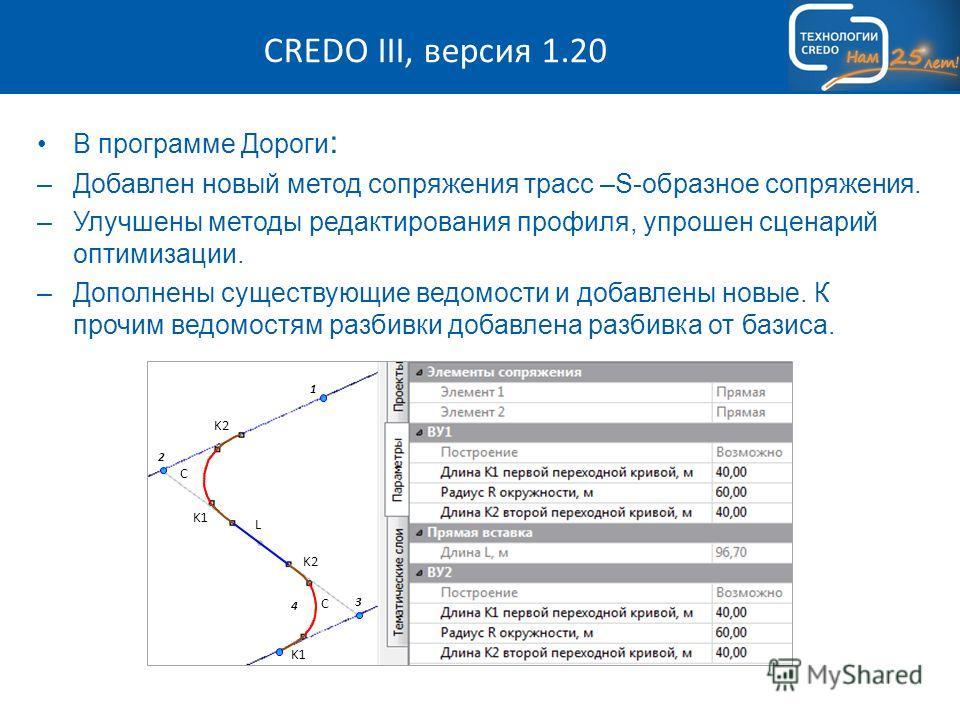 CREDO III, версия 1.20 В программе Дороги : –Добавлен новый метод сопряжения трасс –S-образное сопряжения. –Улучшены методы редактирования профиля, упрошен сценарий оптимизации. –Дополнены существующие ведомости и добавлены новые. К прочим ведомостям