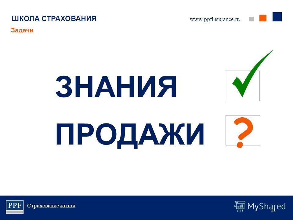 Страхование жизни 11 ШКОЛА СТРАХОВАНИЯ Задачи www.ppfinsurance.ru ЗНАНИЯ ПРОДАЖИ ?