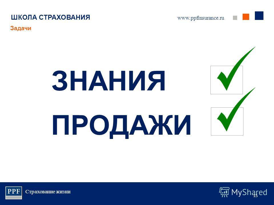 Страхование жизни 15 ШКОЛА СТРАХОВАНИЯ Задачи www.ppfinsurance.ru ЗНАНИЯ ПРОДАЖИ