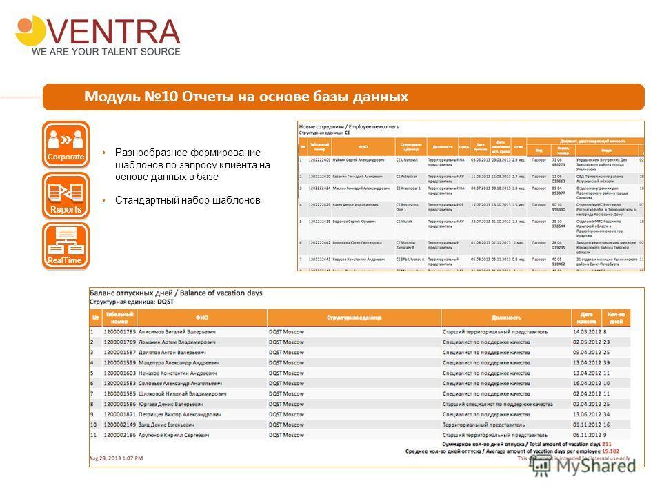 Модуль 10 Отчеты на основе базы данных Разнообразное формирование шаблонов по запросу клиента на основе данных в базе Стандартный набор шаблонов Corporate Reports RealTime