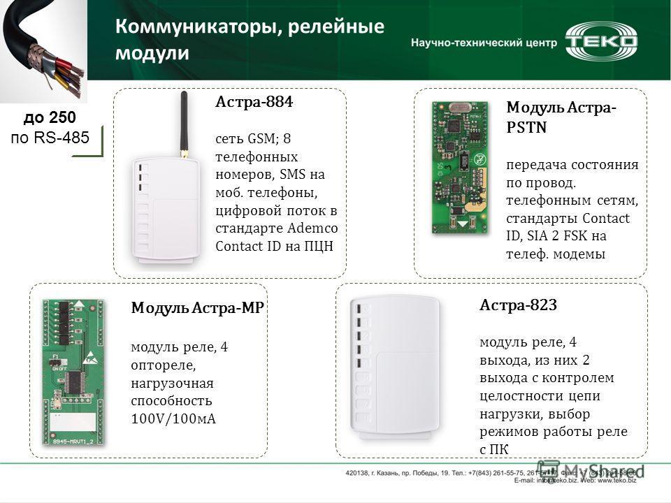 Коммуникаторы, релейные модули Астра-884 сеть GSM; 8 телефонных номеров, SMS на моб. телефоны, цифровой поток в стандарте Ademco Contact ID на ПЦН Модуль Астра- PSTN передача состояния по провод. телефонным сетям, стандарты Contact ID, SIA 2 FSK на т