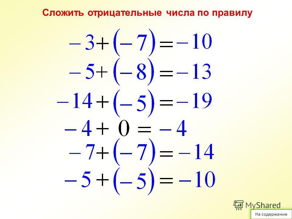 Сложить числа с помощью координатной прямой: На содержание