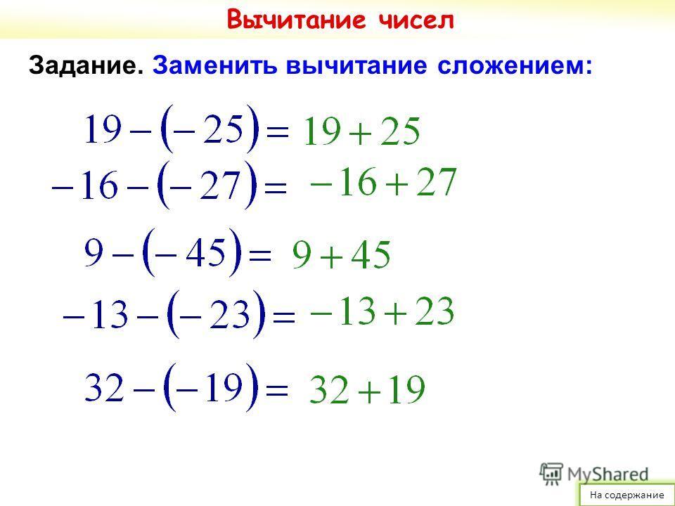Задание. Заменить вычитание сложением: Вычитание чисел На содержание