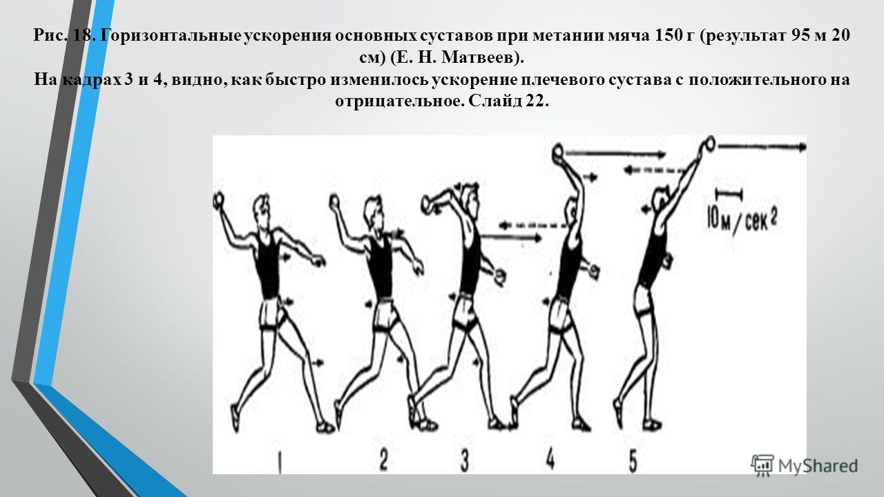Рис. 18. Горизонтальные ускорения основных суставов при метании мяча 150 г (результат 95 м 20 см) (Е. Н. Матвеев). На кадрах 3 и 4, видно, как быстро изменилось ускорение плечевого сустава с положительного на отрицательное. Слайд 22.