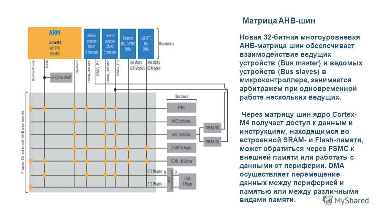 Новая 32-битная многоуровневая AHB-матрица шин обеспечивает взаимодействие ведущих устройств (Bus master) и ведомых устройств (Bus slaves) в микроконтроллере, занимается арбитражем при одновременной работе нескольких ведущих. Через матрицу шин ядро C