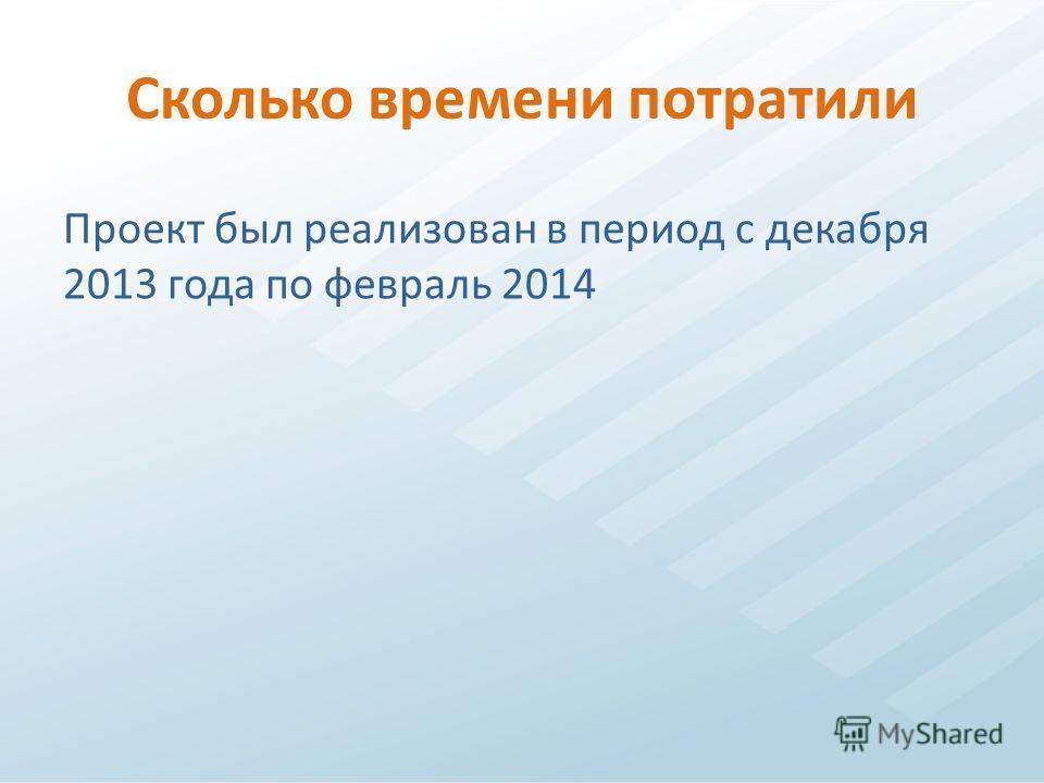 Сколько времени потратили Проект был реализован в период с декабря 2013 года по февраль 2014