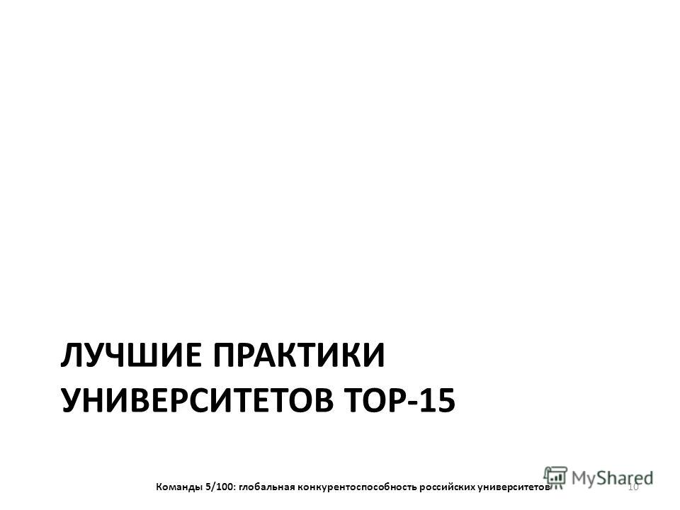 ЛУЧШИЕ ПРАКТИКИ УНИВЕРСИТЕТОВ TOP-15 Команды 5/100: глобальная конкурентоспособность российских университетов 10