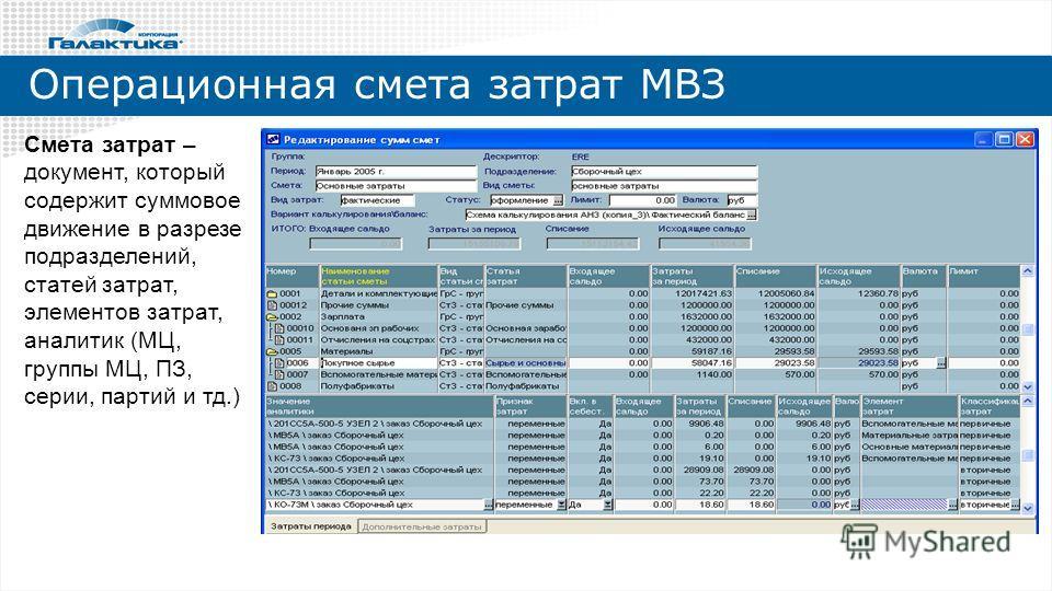 Операционная смета затрат МВЗ Смета затрат – документ, который содержит суммовое движение в разрезе подразделений, статей затрат, элементов затрат, аналитик (МЦ, группы МЦ, ПЗ, серии, партий и тд.)