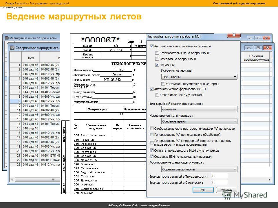© OmegaSoftware. Сайт: www.omegasoftware.ru Omega Production - Мы управляем производством! Оперативный учёт и диспетчирование производства Ведение маршрутных листов