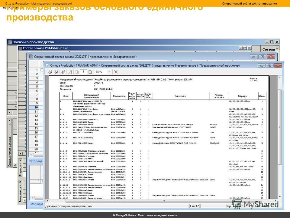 © OmegaSoftware. Сайт: www.omegasoftware.ru Omega Production - Мы управляем производством! Оперативный учёт и диспетчирование производства Примеры заказов основного единичного производства