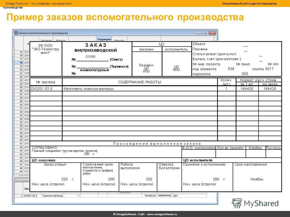 © OmegaSoftware. Сайт: www.omegasoftware.ru Omega Production - Мы управляем производством! Оперативный учёт и диспетчирование производства Пример заказов вспомогательного производства