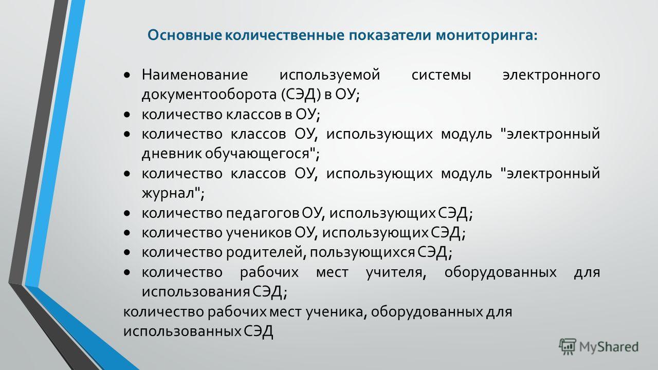 Основные количественные показатели мониторинга: Наименование используемой системы электронного документооборота (СЭД) в ОУ; количество классов в ОУ; количество классов ОУ, использующих модуль