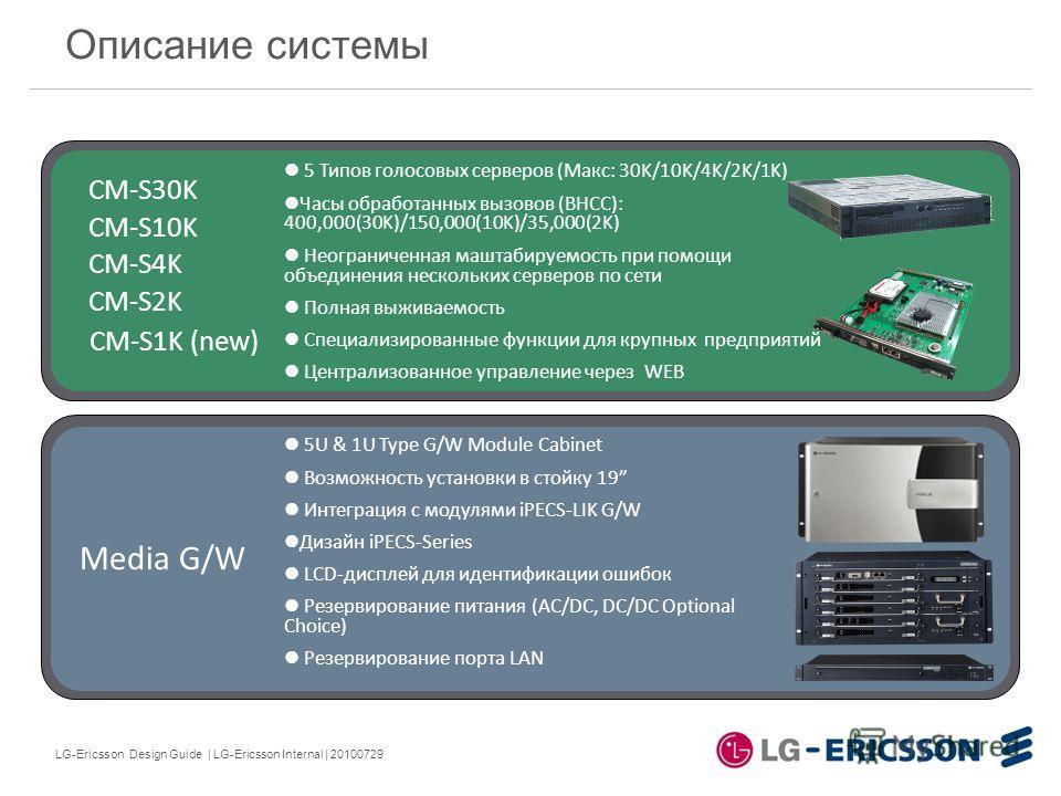 LG-Ericsson Design Guide | LG-Ericsson Internal | 20100729 Описание системы 5 Типов голосовых серверов (Макс: 30K/10K/4K/2K/1K) Часы обработанных вызовов (BHCC): 400,000(30K)/150,000(10K)/35,000(2K) Неограниченная маштабируемость при помощи объединен