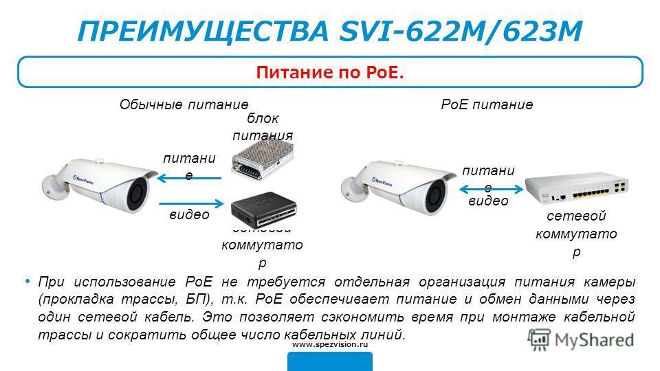 Обычные питаниеPoE питание ПРЕИМУЩЕСТВА SVI-622M/623M Питание по PoE. При использование PoE не требуется отдельная организация питания камеры (прокладка трассы, БП), т.к. PoE обеспечивает питание и обмен данными через один сетевой кабель. Это позволя