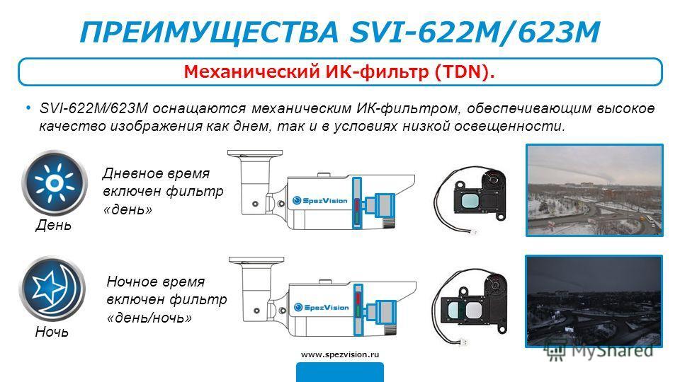 Дневное время включен фильтр «день» Ночное время включен фильтр «день/ночь» ПРЕИМУЩЕСТВА SVI-622M/623M Механический ИК-фильтр (TDN). www.spezvision.ru SVI-622М/623М оснащаются механическим ИК-фильтром, обеспечивающим высокое качество изображения как
